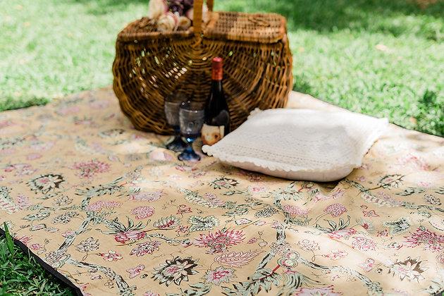 Garden Daisy Picnic Blanket Amber Gold