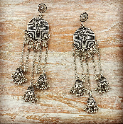 Coin Bell Drop Earrings