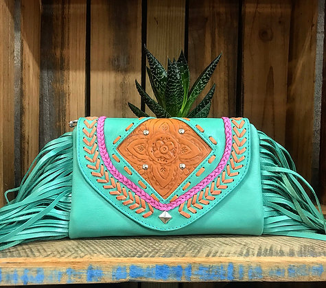 Coachella Festival Cross Body Bag/Clutch - Turquoise