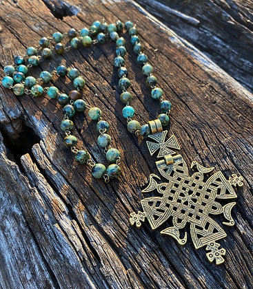 African Turquoise cross pendant necklace