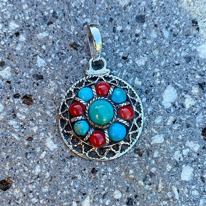 Coral & Turquoise Pendant