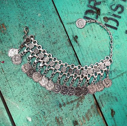 Boho Turkish Silver Style Coin Bracelet ~ Style 2