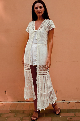 Lace style long cardigan