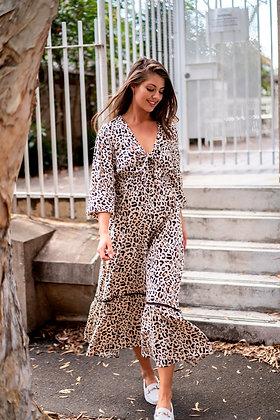 Leopard Tie Front Maxi Dress