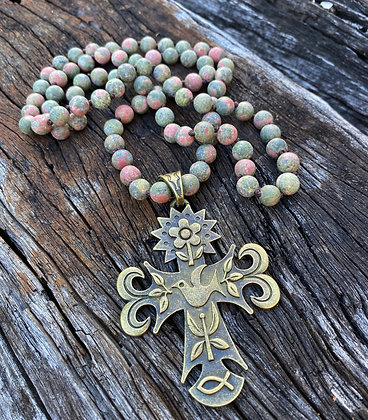 Dove Cross Jasper necklace