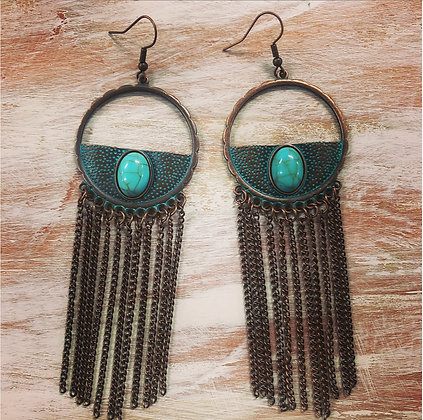 Bronze chain tassle earrings