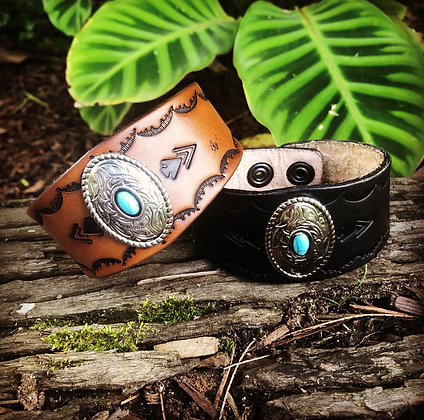 Leather Cuff Bracelet with Silver pendant and turquoise Stone
