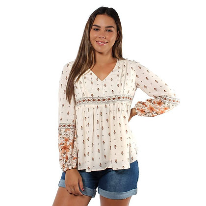 Poppy Womens Long Sleeve Top - Outback Floral
