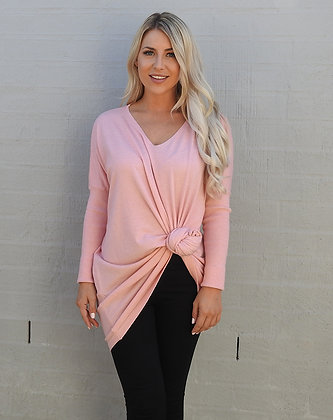 copy of copy of Slouch V Neck Knit - Blush Pink