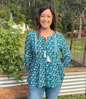 Ditsy Floral Boho Top - Green