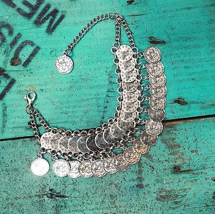 Boho Turkish Silver Style Coin Bracelet ~ Style 1