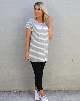 Striped Tee - Grey