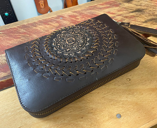 copy of Handmade Leather Mandala Purse - Dark Brown