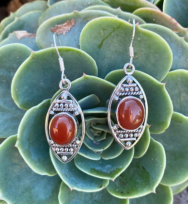Carnelian Silver Earrings