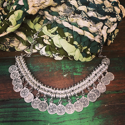 Boho Turkish Silver Style Coin Necklace ~ Style 2