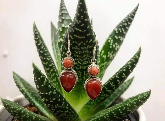 Sunstone & Carnelian Silver Earrings