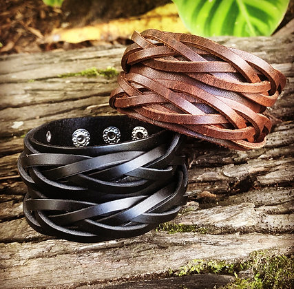 Leather Cuff Bracelet braded design