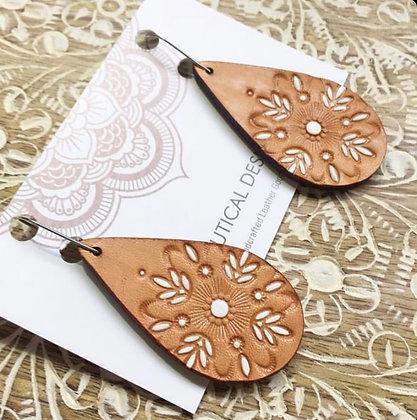 White Flower Drop Leather Earrings
