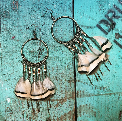 Brown feather hoop earrings