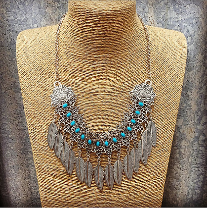 Tribal Turquoise Leaf Necklace