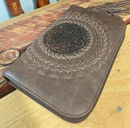 Handmade Leather Mandala Purse - Light Brown
