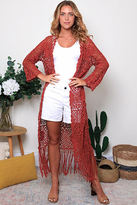 Crochet Duster  - Rust