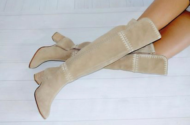 Marlee  Suede Ivory Boots