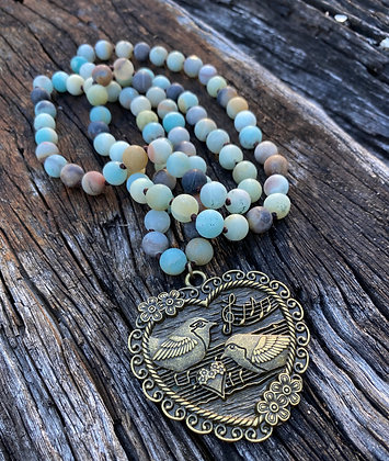 Heart pendant Jasper necklace