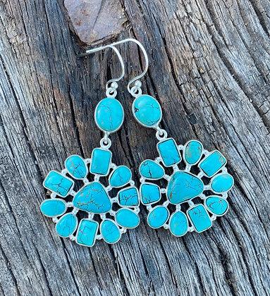 Turquoise Silver Earrings  2