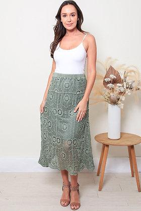 Crochet Maxi Skirt - Khaki