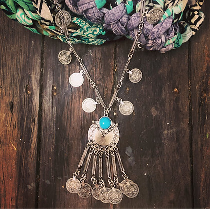 Boho Turkish Silver Style Long Coin Necklace
