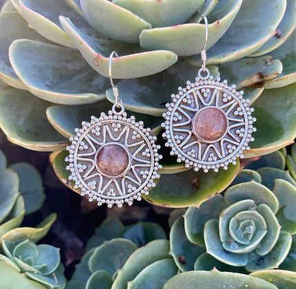 Sunstone Silver Earrings 2