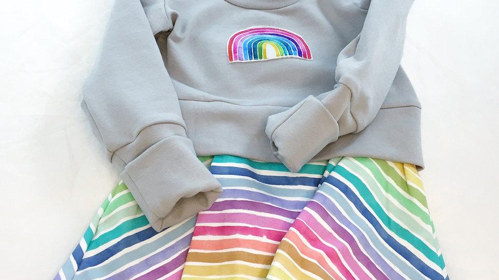 Organic Rainbow Grow-With-Me tunic - Size 1-3 years