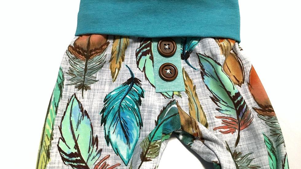 Organic feathers Print - Grow-With-Me Pants nb-9mo