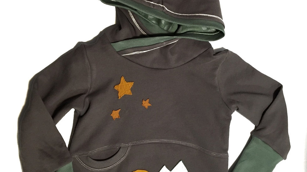 Organic dark gray Mountain moonrise hoodie - 3-6 years