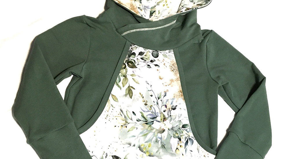 Organic floral pixie  hoodie - 3-6 years