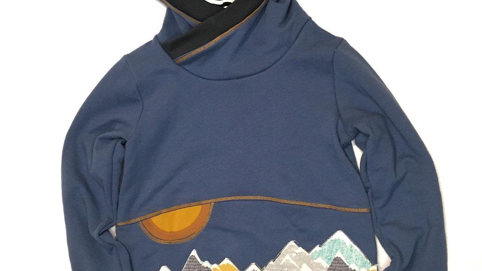 Organic denim blue mountain pocket hoodie  - Grow-With-Me 6-9 years