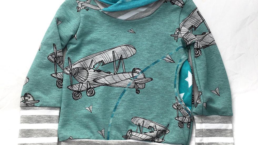 Organic Airplanes - Heathered Aqua - Grow-With-Me Sweatshirt