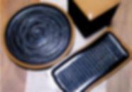丸盆 三段角重箱 瀬戸の波皿