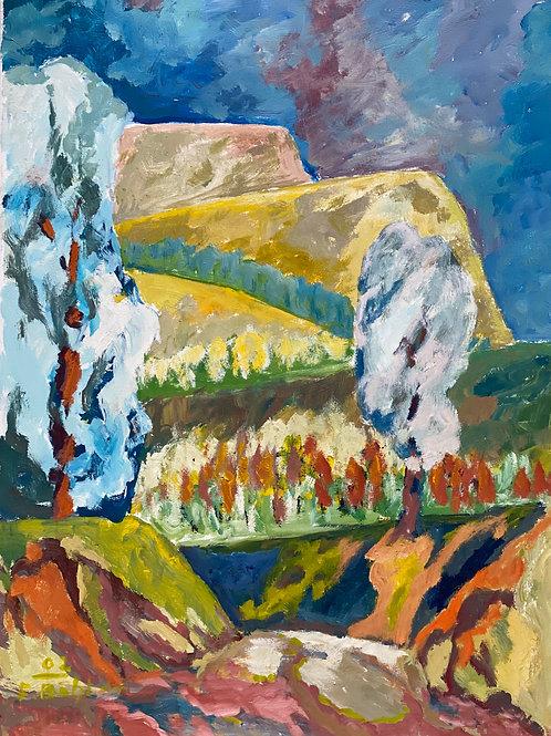 Landschaftsimpression III von Franz Böhler I 60x80cm Hochformat