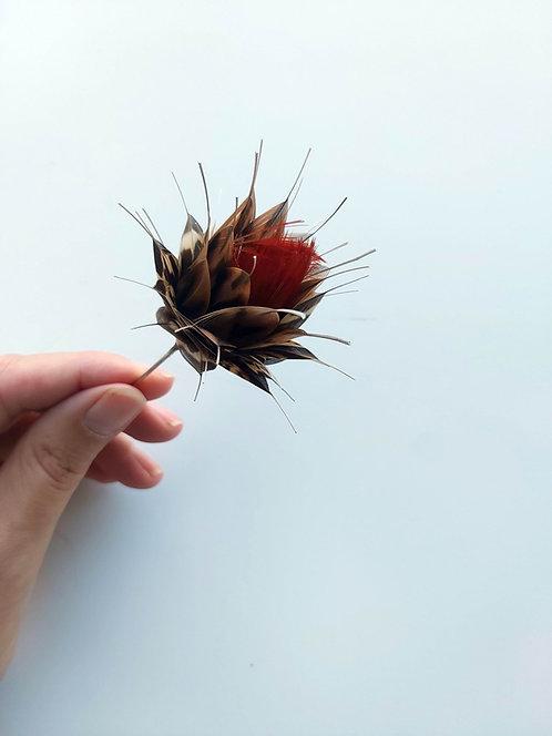 Broche/fleur Oculi maculosa rouge