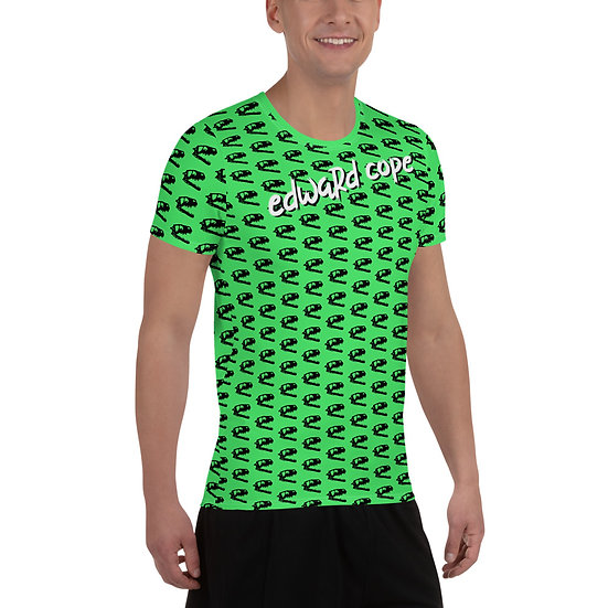 Dino Skull (Neon Green) All-Over Print Men's Athletic T-shirt