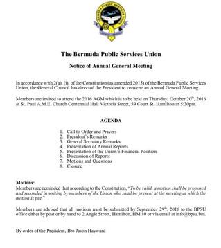 Notice of BPSU AGM