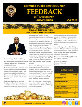 BPSU Feedback Newsletter Q4 2017 - Holiday Edition