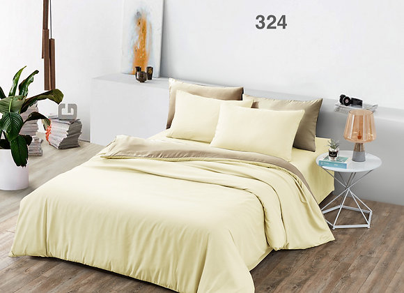 Fitted Bed Sheet Set 324 (Beige Solid Colour)
