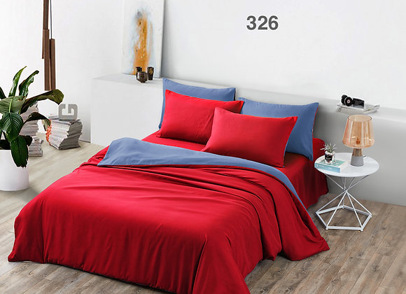 Fitted Bed Sheet Set 326 (Solid Colour- Red)