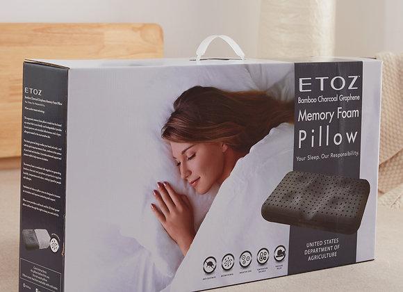 ETOZ Bamboo Charcoal Memory Foam Pillow- Graphene Memory Pillow- Bamboo Cotton F