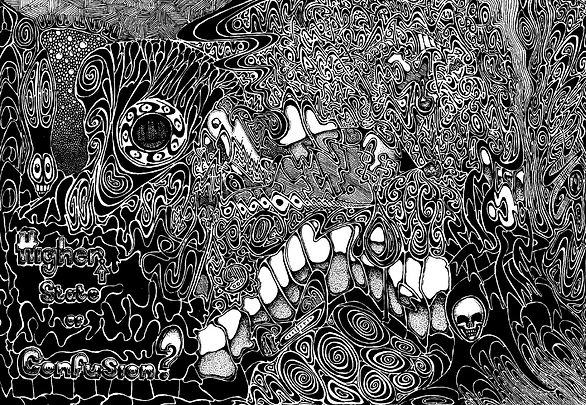 Higher state of confusion, copyright commonbeing 2012 all rights reserved,commonbeing,art,hedgehog,vampire,hand drawn,prints,limited edition,splat,zorin,pattern,zombie,cucumber,black and white,awesome,third eye,rex,contemporary,signed,album,quality control