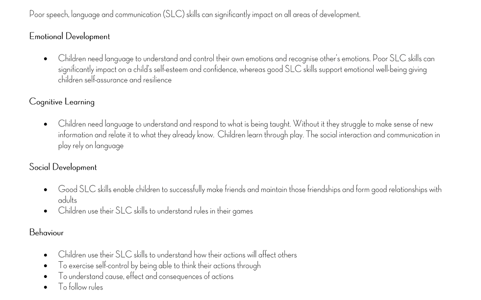 The EYFS supports seven areas of learnin