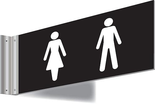 150x300mm Washroom Sign - T Bar - white text on black background